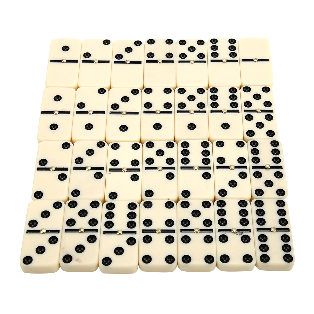 New Arrivals 28Pcs Double Six Dominoes Set Of 28 Traditional Board Travel Game Toy Bamboo Box For Kids Creative Gift Classic Toy