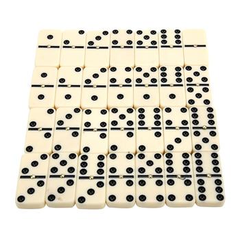 Nowości 28 szt Podwójne sześć domino zestaw 28 tradycyjnych planszowych gra podróżna zabawki bambusowe pudełko dla dzieci kreatywny prezent klasyczna zabawka tanie i dobre opinie Dominoes Dorośli 14Y 5-7 lat 2-4 lat 8 ~ 13 Lat Inne Sport Keep away from fire Domino Board Game black and white Electric jade powder