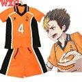 Haikyuu Yuu Nishinoya Cosplay Karasuno High School de Uniforme Jersey Número 4 T-shirt e Calças de Vôlei Traje Cosplay WXC
