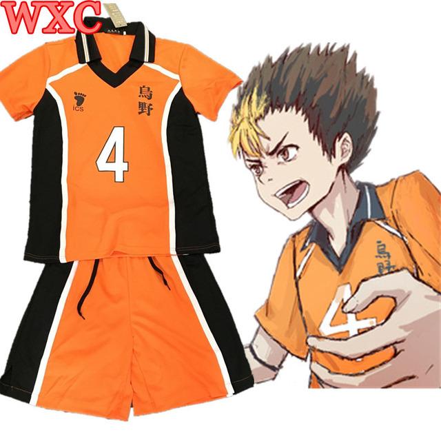 Nishinoya Yuu Cosplay Haikyuu Karasuno Uniforme Escolar Jersey Voleibol Cosplay Número 4 Camiseta y Pantalones WXC