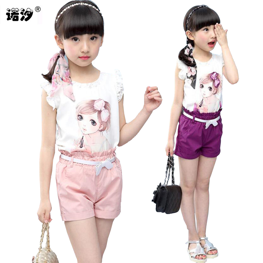 Girls clothes kids sets summer Style tops+shorts children fashion Tee+trousers 3-11 Y children outwear baby sweat clothes sets