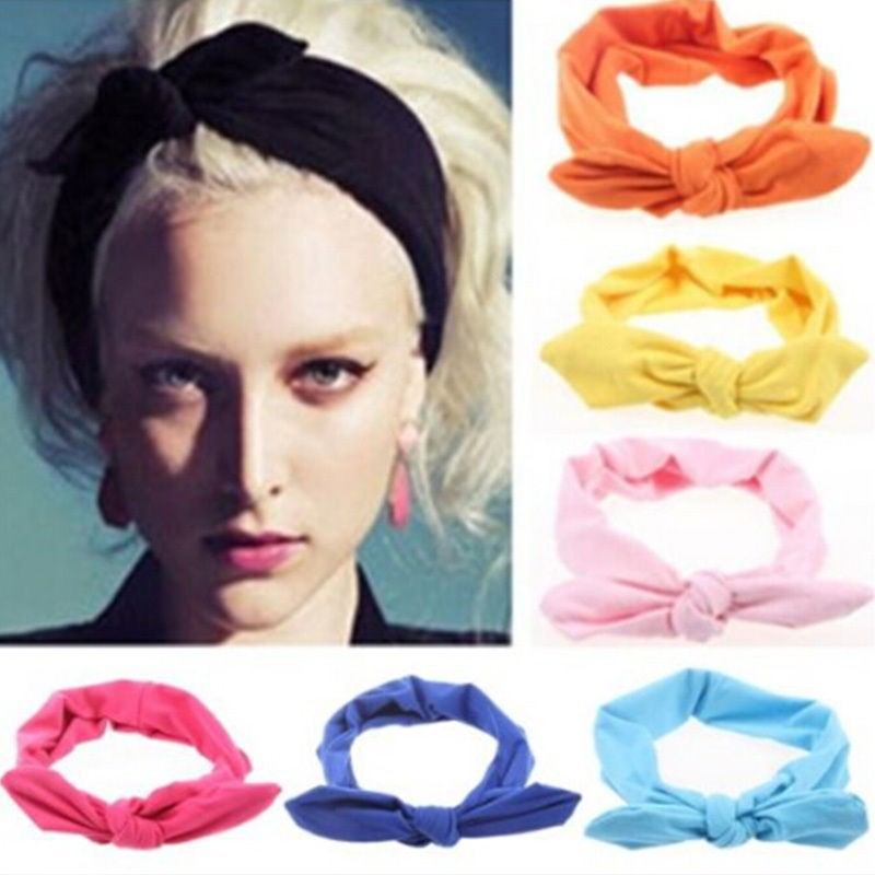 100 Pcs/lot Women Elastic Rabbit Bow Style Hair Band Headband Top Knot Turban Head bands hairbands Headwear Ornament accessories