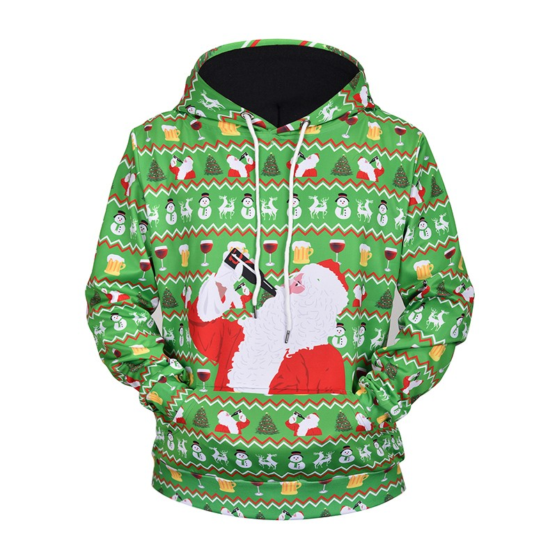 Men's 3D Print Santa Claus Drinking Beer Christmas Clothing Hoodies Pullover Hoodied for Women/Men Loose Hooded Sweatshirts
