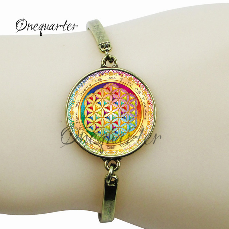 Flower of life charm bracelet silver plated mandala bracelet for women/lady indian bangle glass dome yoga pendant charms jewelry