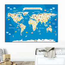 Wall Art Canvas Painting Fruit Fish Bear Deer Animal World Map Cartoon Nordic Posters And Prints Pictures Kids Room Bedroom