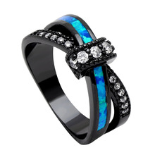 VNFURU Black Gold Rings Fire Opal Jewelry for Women Party Cocktail Ring Bowknot Cross Design Vintage White Cz Stone Wedding Gift