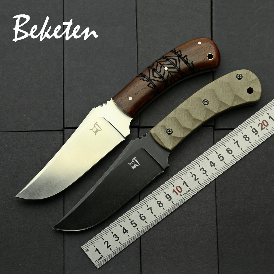 BEKETEN tactics fixed knife stone wash DC53 or Sanding D2 steel blade G10 or Wood handle