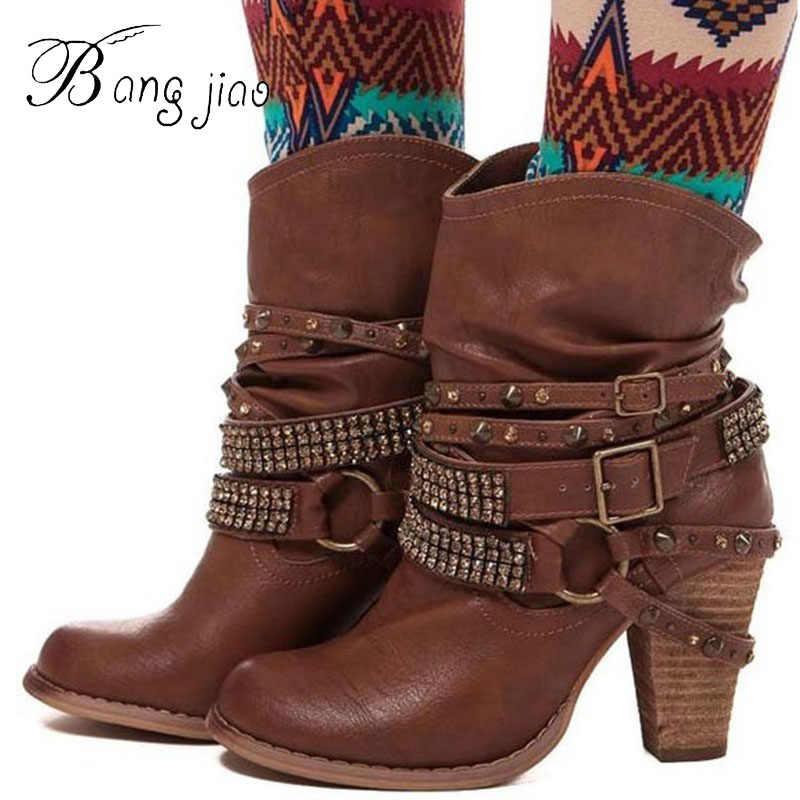 แฟชั่นผู้หญิง PU Punk Draped รอบ Toe รองเท้าส้นสูงข้อเท้ารองเท้าบูทโลหะตกแต่ง Martin Boots หัวเข็มขัดฤดูใบไม้ร่วงฤดูหนาวรองเท้า