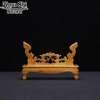 Wood Assembly Base Japanese Samurai Sword Katana Wakizashi Tanto Rest Holder Stand Shelf Display One Layer Dragon frame