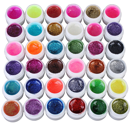 36 Mixed Colors Glitter UV Gel Polish Soak Off Top Coat for Nail Art False Tips dn2 39 mix 2 3mm solvent resistant neon diamond shape glitter for nail polish acrylic polish and diy supplies1pack 50g