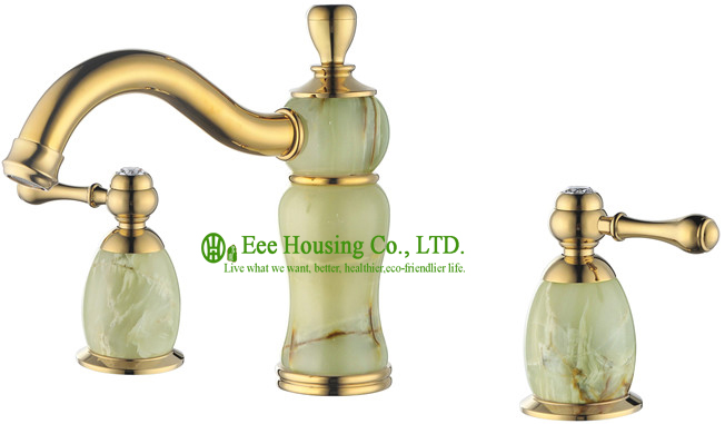 Free Shipping Brass Three-hole Basin Mixer,basin Faucet,zirconium Gold And Bowlder Finished,bathroom Accessories