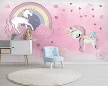 Купить с кэшбэком beibehang Custom 3d wallpaper mural Unicorn pink balloon background wall Children's room background wall papel pintado wallpaper