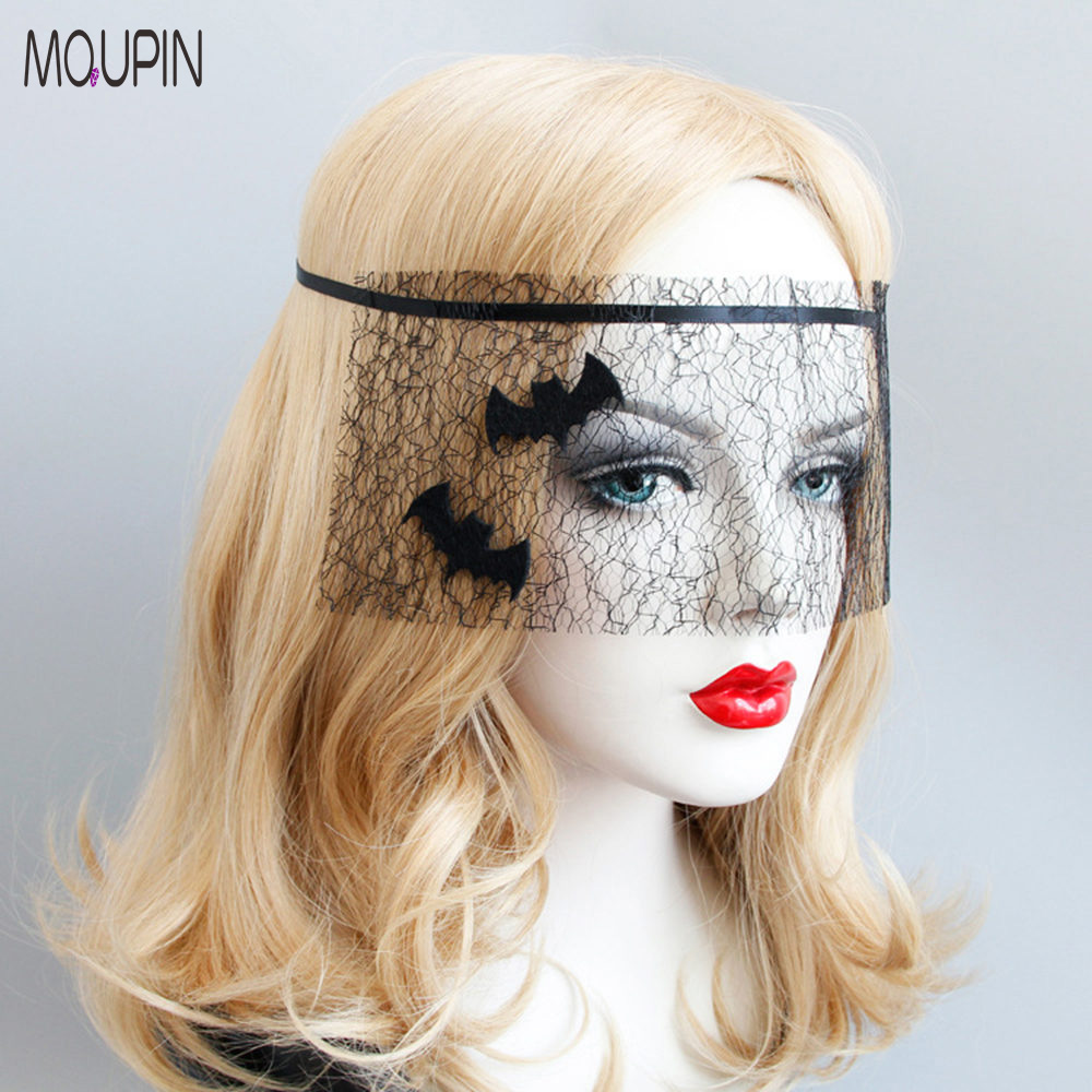 MQUPIN Halloween Black Bat Nets Adult Children's Festival Party Stage Performance Mask Sexy Exotic Lingerie Accessories
