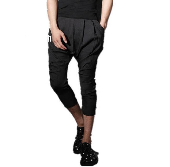 Summer personality fashion slim harem pants mens casual trousers pantalones hombre cargo feet pants for men pantalon homme black