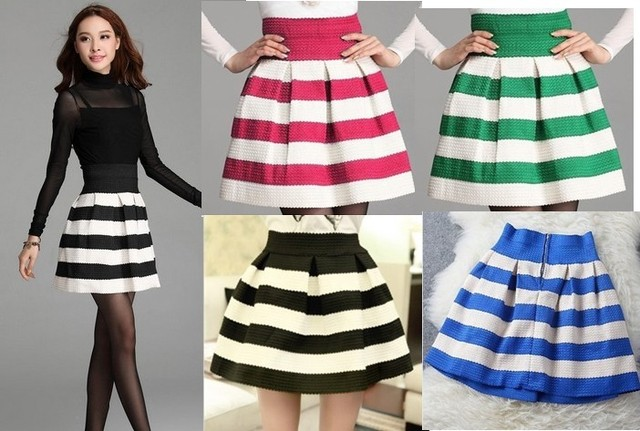 c87acd540 Fashion 2015 New Striped Skirt Good Quality Nice Design Skirts 5 color Hot  selling European and American style
