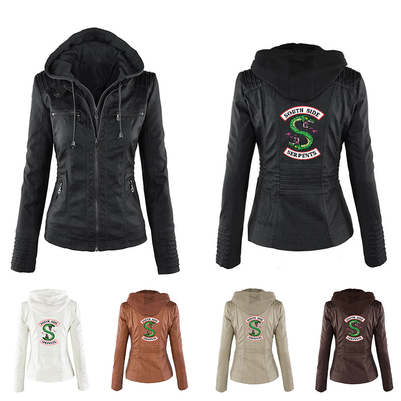 BF Riverdale Southside Riverdale Serpents noir cuir synthétique polyuréthane marron veste femmes Riverdale Serpents Streetwear en cuir marque manteau