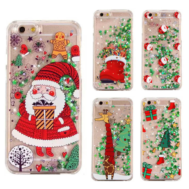 christmas cover for iphone 6 iphone 7 case glitter dynamic liquid star cover for case on