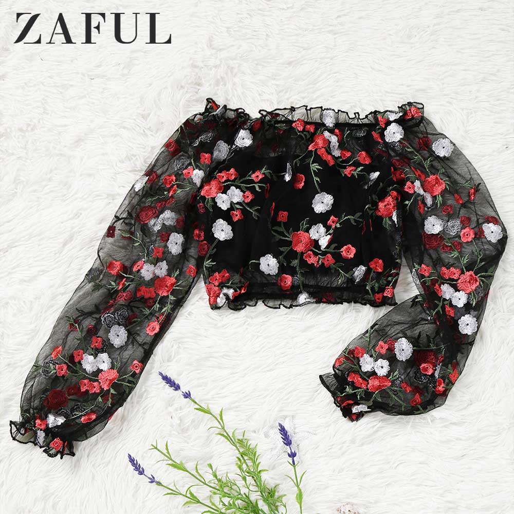 ZAFUL Cute Women Casual   Blouse     Shirt   Ladies Fashion Embroidered Off Shoulder Sheer   Blouse   With Tube Top   Blouses   Female Blusas