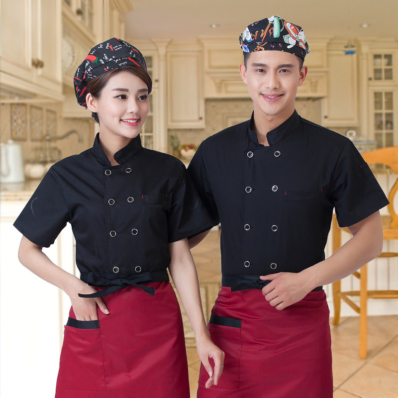 2017 New Summer Short-sleeve Breathable Double-breasted Restaurant Chef Jacket Kitchen Cook Suit Net Back Man Woman Chef Uniform