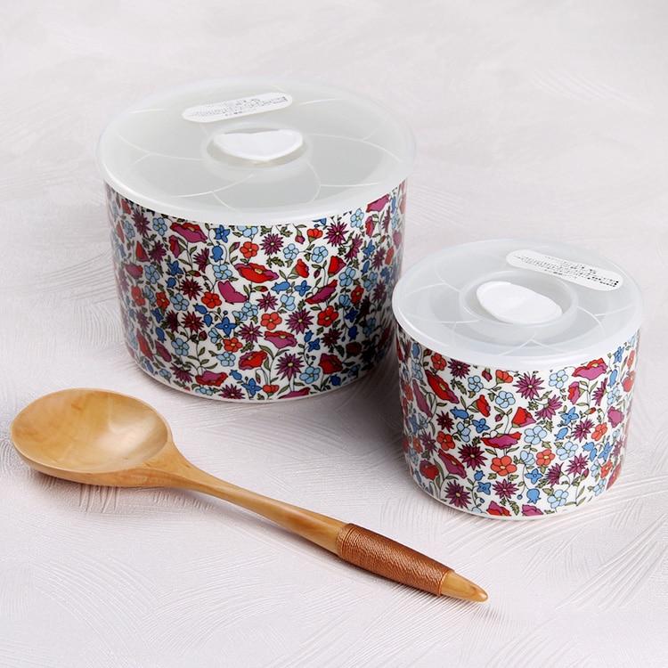Bin-Box Crisper Bins Storage-Boxes Refrigerator Food-Container Postoral Ceramic Porcelain
