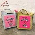Divertido moda personalidade bordado letras gasolina garrafa forma brilhante cadeia bolsa bolsa de ombro senhoras bolsa flap totes