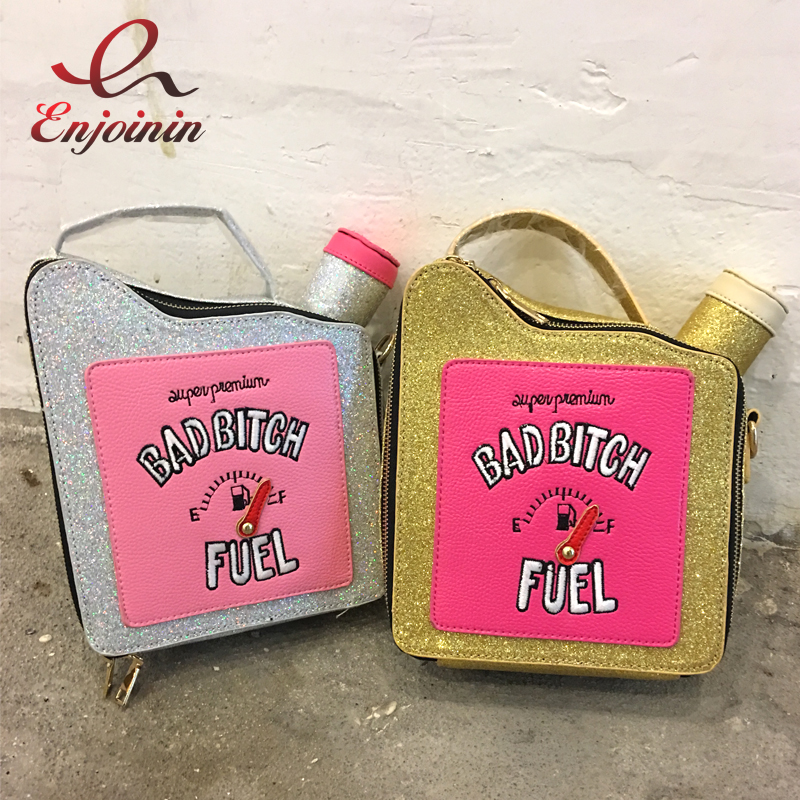 Fashion fun personality embroidery letters gasoline bottle shape bright chain handbag shoulder bag ladies purse flap totes hot fun personalized fashion laser shell shape chain shoulder bag purse girls ladies crossbody handbag mini messenger bag flap