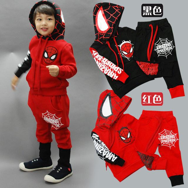 Homem Aranha Spiderman Crianças Meninos conjunto de Roupas de Bebê Menino Esportes Ternos 2-6 Anos Crianças 2 pcs Define Primavera outono Roupas de Treino