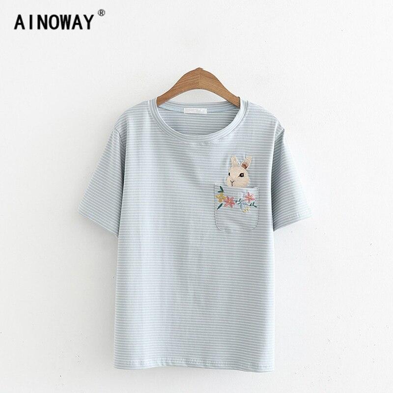 Été 2018 mode nouveau femmes harajuku kawaii t-shirt top rayé poche lapin broderie femelle coton lapin chemise oversize