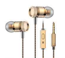 In-Ear Earphone 3.5mm Metal headset In-Ear Earbuds For Cellphone MP3 MP4 Earphones With Mic Microphone Noise Isolation Deep Bass