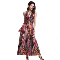 2018 Women Summer Dress Aliexpress Uk Polyster Spaghetti V Neck Long Beach Maxi Bohemian Length Dresses