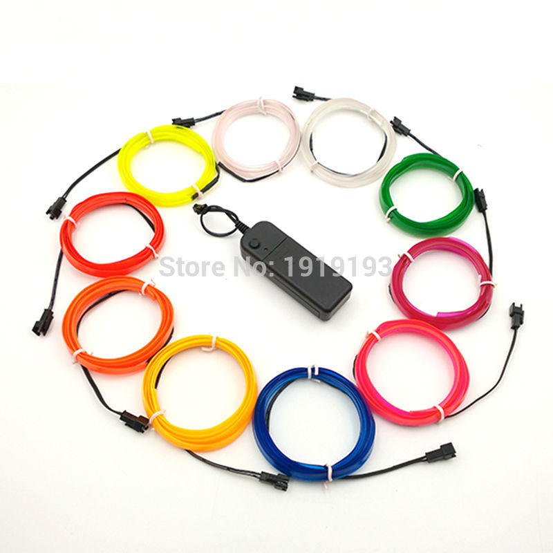 New arrive 10Color Choice 2.3mm-Skirt 1-5M EL wire Rope Led Strip Neon light for Car Party Decoration Powered by 2-AA battery