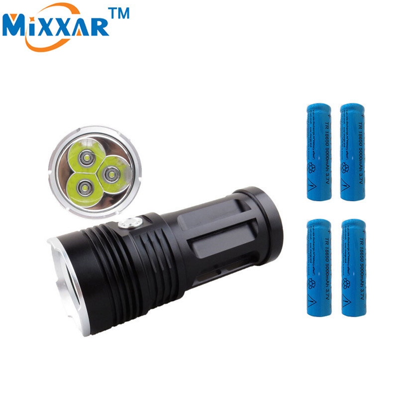 led flashlight 6000LM 3x Cree XM-L T6 lamp beads MI-3 Camp Hunting Torch tactical Lantern with 4x18650 5000mAh battery ru zk50 led flashlight 3x 5x 7x 9x cree xm l t6 lamp beads led torch flash light tactical lantern for hunting camping no battery