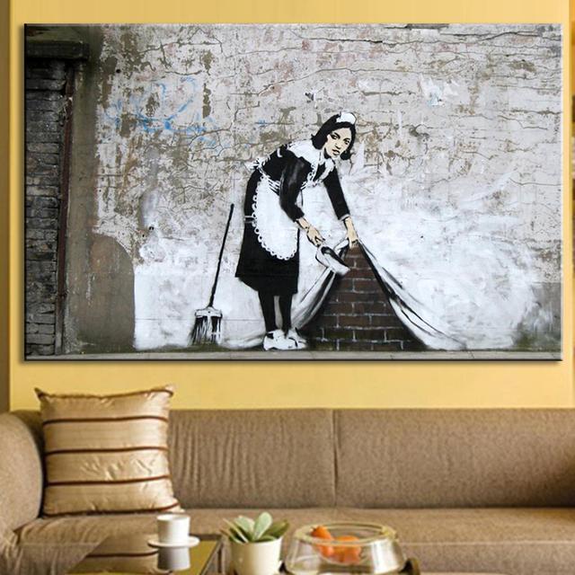 1 Pz Banksy Art Cameriera Scuro Versione Immagini A Parete per ...