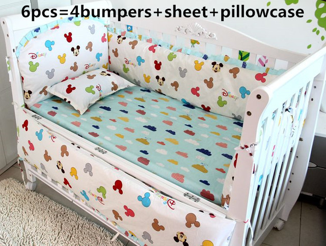 Promotion! 6PCS Mickey Mouse Baby Crib Bedding Set for Girl Boy,Cartoon Bear Detachable Cot Bumpers,(bumpers+sheet+pillow cover)
