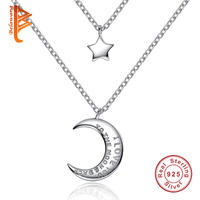 BELAWANG Romantic Double Chain Star Moon Pendants Necklaces With I Love You Letter Fashion 925 Sterling