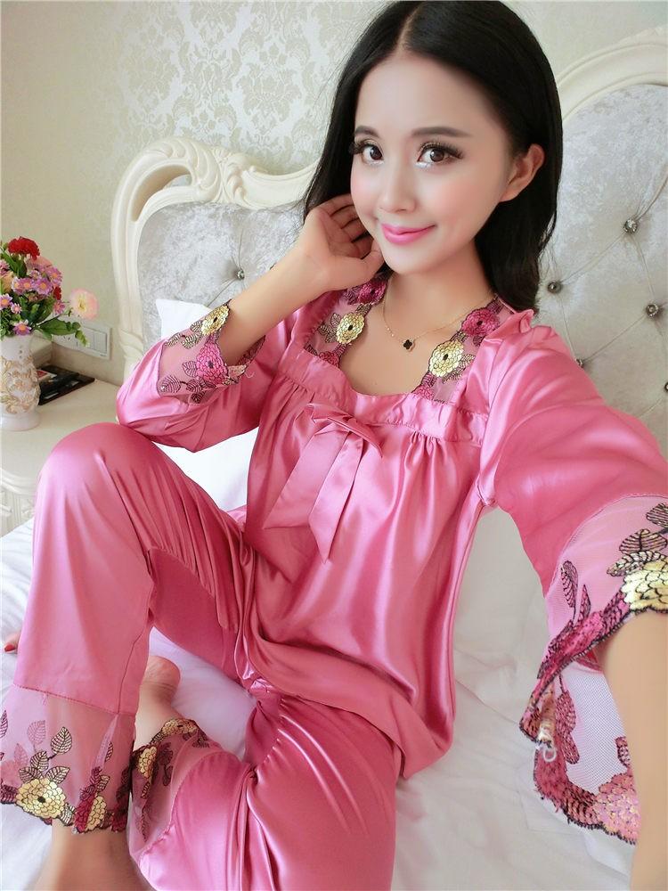 2017 Spring Summer Autumn Women Silk Pajamas Sets of Sleepcoat ... 0e6b957e4