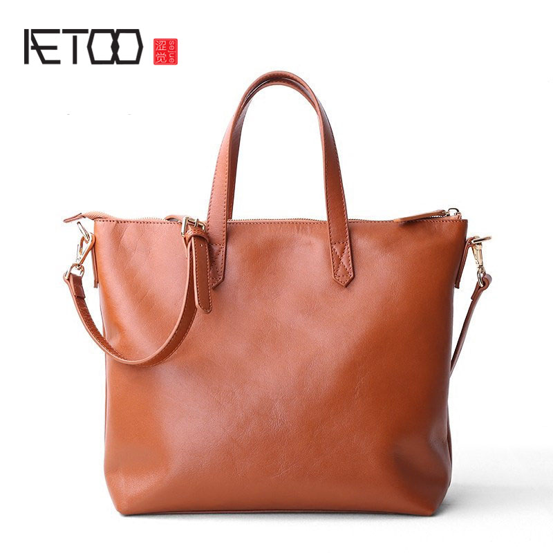 AETOO Bag 2017 new leather Tote bag handbags OL briefcase first layer of leather tote portable shoulder Messenger bag bag female new genuine leather handbags first layer of leather shoulder bag korean zipper small square bag mobile messenger bags