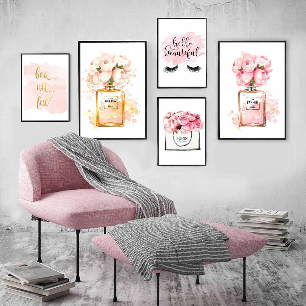 Modern Wall Art Home Decor Perfume Bottle Canvas Painting Coco Wall Pictures For Living Room Fashion Posters and Prints No Frame