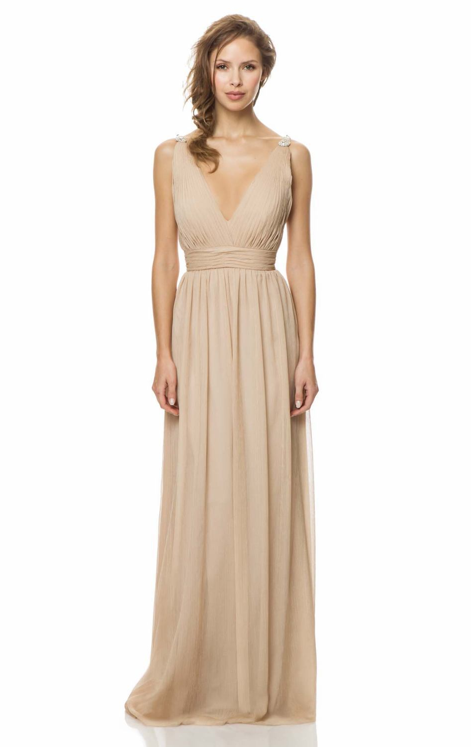 Fashion style Bridesmaid beige dress for lady