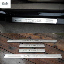 car stickers 4pcs/lot for 2007-2012 Skoda Octavia Stainless Steel Scuff Plate Door Sill car accessories