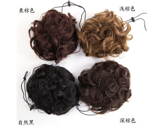 100% Real hair bun Chignons hair clip in Chignon hair pieces Curly hair  buns black for women 74459d59b