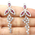 Long Lace Pink Tourmaline, White CZ Created SheCrown Engagement Silver Earrings 50x16mm
