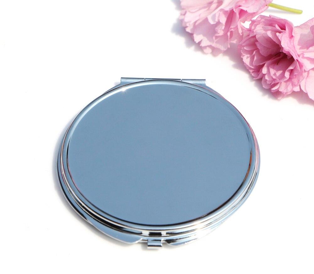 Круглый 75 мм Зеркало компактное пустой простой серебряный Цвет для DIY Decoden #18122-1 5X/лот
