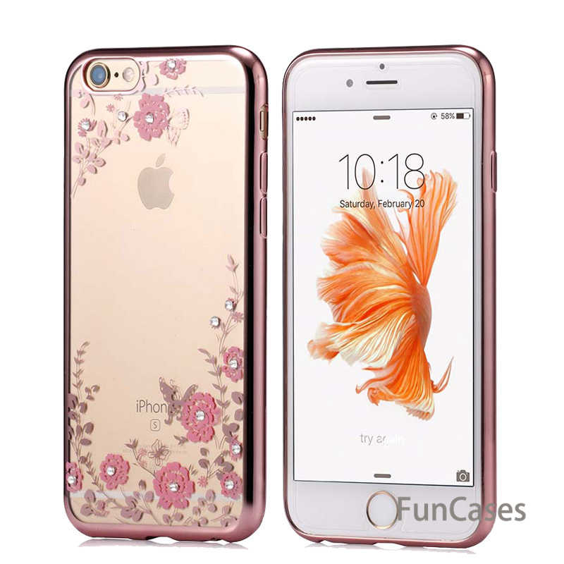 Mewah Plating Diamond Bunga TPU Bening Lembut Case untuk iPhone X XS Max XR Cover 6 6S 7 8 plus 5 5S 5SE Ponsel Transparan Kasus