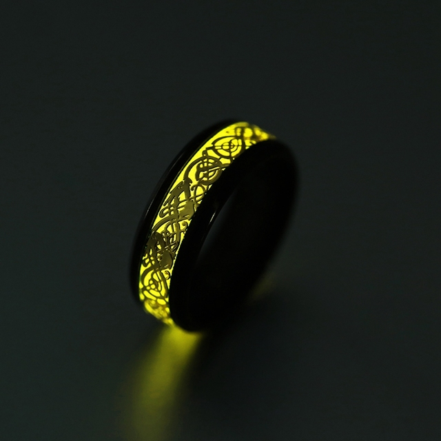 Stainless Steel Glow in the Dark Ring 2
