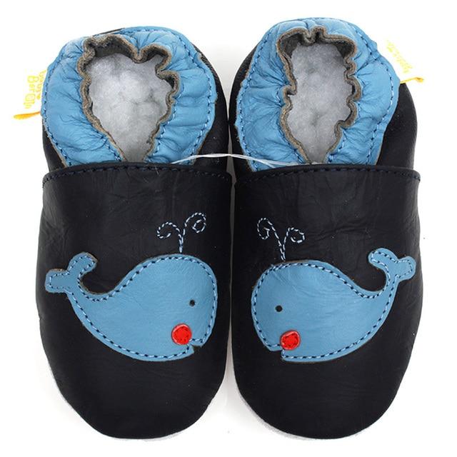 Детская обувь темно-синий кожаный детские мокасины животных мягкой подошвой детская обувь мальчик тапочки малыша дети не - проскальзывания детской обуви