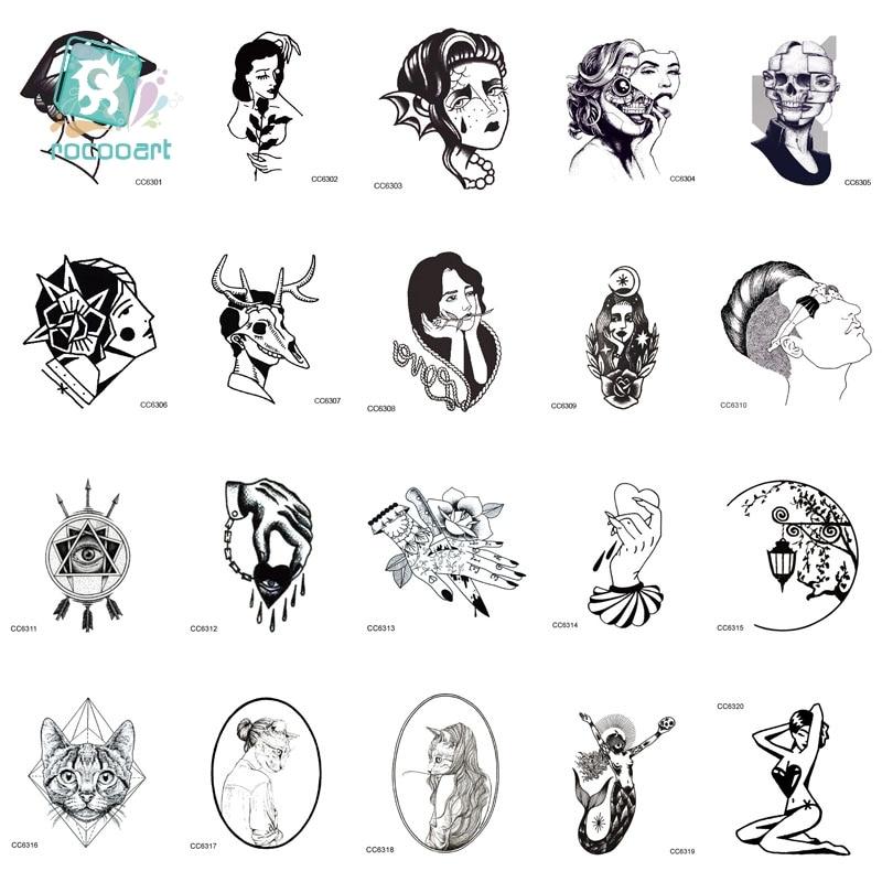 MB CCSEX1 Vintage Old School Style Kitty Cat Head Women Skull Mask Temporary Tattoo Sticker Body Art Fake Taty Tatoo