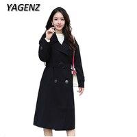 Autumn Female Windbreaker Coats Korean Temperament Slim Long Overcoat Women Clothing Casual Solid Double breasted Trench Coat