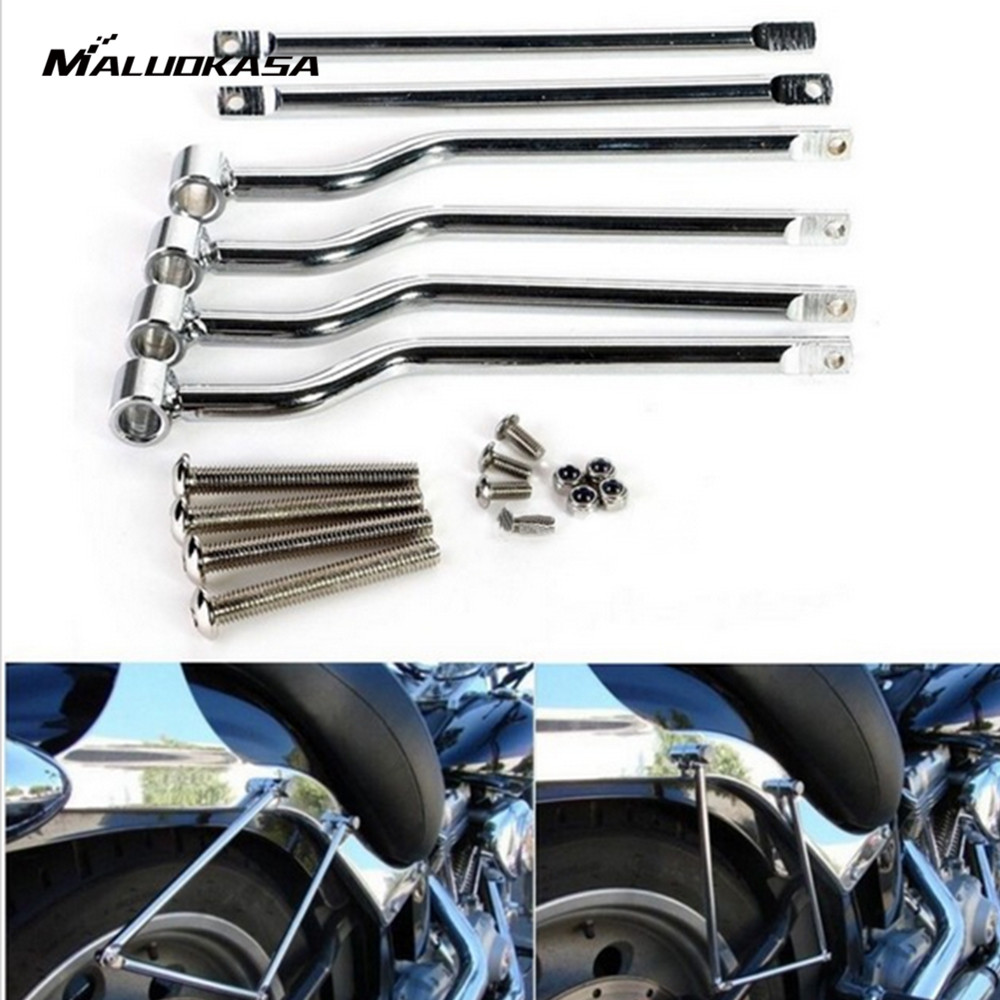 MALUOKASA Chrome Motorcycle Accessories Saddlebag Support Bars For Honda Rebel CMX 250 Kawasaki Vulcan Suzuki Boulevard C50 C90 цены онлайн