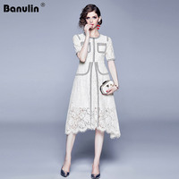 High Quality Runway Women Lace Dress Summer White Patchwork Hollow Out Bodycon Pocket Dress Sexy Beading Button Party Dresses